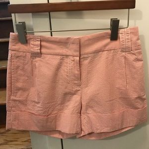 J. Crew red seersucker shorts